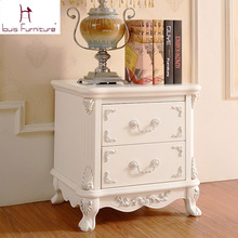 European Luxury Ivory color Bedside Table Nightstand(China)