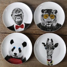 Dinner Plates Funny Animals  8*inch Ceramic Dinnerware Porcelain Flat Plates Pastry Cake Tray Party Plate Dishes Fruit Dish