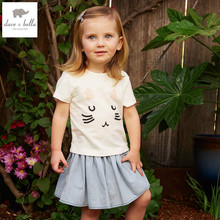 DB4884 dave bella spring summer baby girls white lovely kitty clothing set  baby girls blue pleated skirt  2 pcs