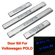 4PCS Car LED Door Sill Guards Stainless Steel Scuff Plate For VW Volkswagen Polo 2011 2012 2013 2014 2015