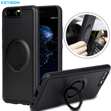 KEYSION Case for Huawei P10 P10 Plus Car Holder Stand Magnetic Suction Bracket Finger Ring Soft TPU Cover for P10 P10 Plus