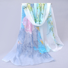 flower print women's scarf 2017 new design long shawl printed cape silk chiffon tippet muffler hot sale Scarves