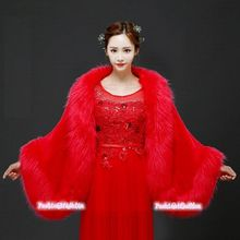 Women Lady Thick Bridal Wedding Shawl Faux Fur Cloak Length 180CM Stylish(China)