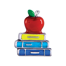 Apple and books, Floating charm fit floating charm lockets, FC0373,10PCS/LOT(China)