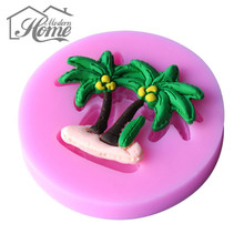 Coconut Trees Shape 3D Silicone Molds, Handmade Soap Mould, Fondant Cake Decoration Sugar Craft Tools Baking Decor Accessory DIY(China)