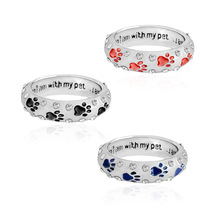 Pet Dog Claw crystal Ring lettering When I Am With My Pet Animal Pet Ring Dog Paw Footprints Ring Jewelry Size 6 7 8 9 10