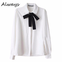 Women Girl Bowknot Long Sleeve White Blouse White OL Uniform Blouse Body Shirt Ladies(China)