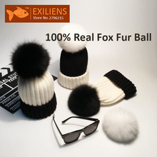 Girl 100% Real Fox Fur Ball Pom pom Beanies Black White Wool Winter Hat For Women Warm Knitted Bobble Hats Caps Skull Cap