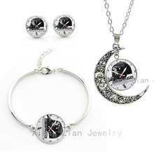 Leisure sporty style femme jewelry sets case for Chicago White Sox baseball cap clock picture necklace earrings bracelet set M47