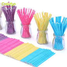 Delidge 50pcs/set Colorful Lollipop Stick Solid Paper Cake Pop Sticks for Lollipop Candy Baking Dessert Cake Decoration Tools