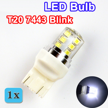 Auto LED Bulb T20 2835SMD Blink Silicone Shell 7443 12 Chips Cold White Color 580 W21/5W W3x16q Car Light Lamp