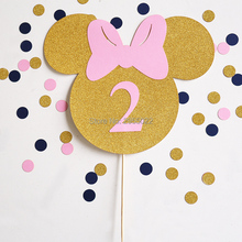 Minnie Mouse cake topper, Gold and pink Topper~glitter smash birthday cake Topper~ Party Supplies, custom Minnie cake topper