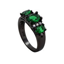 BLACK gold-color finger ring for women bridal fashion jewelry gift 2017 blue green red CZ stone wedding engagement rings(China)