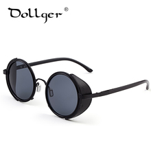 Dollger Vintage Round Steampunk Goggles Sunglasses for women Men Brand Designer Steam Punk Round Sun Glasses Female Gafas s004(China)