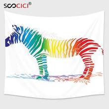 Cutom Tapestry Wall Hanging,Funny Decor Zebra In Gradient Colored Stripes Nature Pattern(China)
