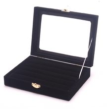 Fashion Black Color Ring Box Ring Holder Jewelry Display Rings Organizer Showcase Earring Case Stud Earrings Display Box Stand(China)