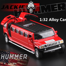 1:32 alloy cars,high simulation model hummer limousine,metal diecasts,pull back & flashing & musical, toy vehicles,free shipping(China)