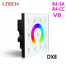 DX8 DMX RGBW Controller Wall-mouted Led Touch Panel DMX512 Control 2.4G RF 4 Zone V8 Remote R4-5A R4-CC Wireless Receiver LTECH(China)
