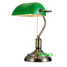 antique bronze desk lamps traditional table lamps reading light green glass Adjustable Task Desk Lamp brass lighting bedroom(China)