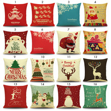 Linen Cotton Blended Cushion Covers Christmas Decorations For Home Throw Pillow Case Cushion Case Pillow Cover 45 x 45 CM