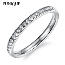 FUNIQUE Stainless Steel Zircon Rings For Women With Beautiful CZ Stone Bright Sliver Tone Style Bague Ring Crown Hot In 2016 1PC