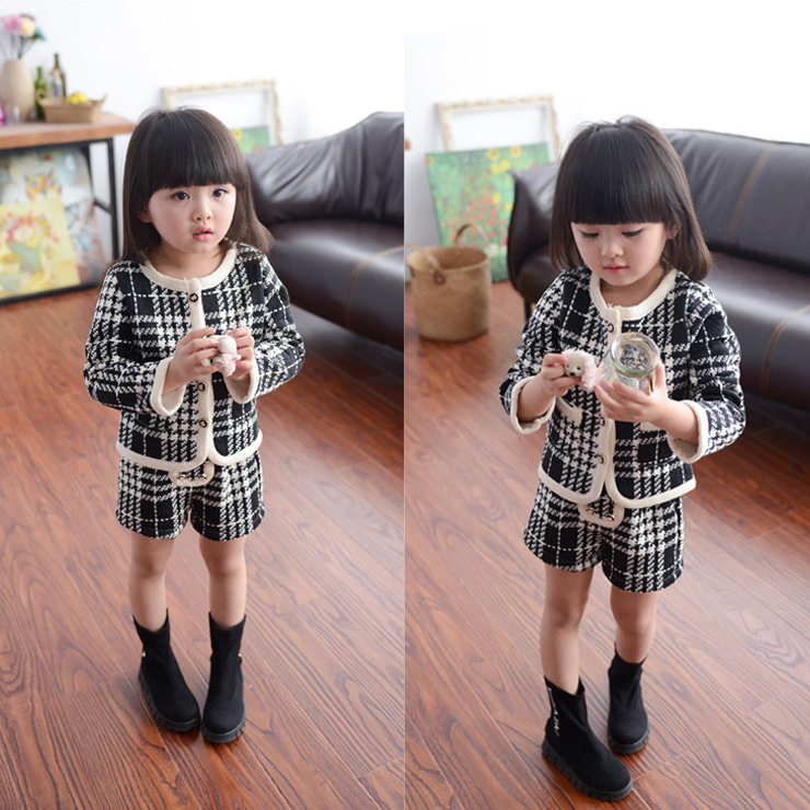 Children Clothing Boy/Girls Clothing Set Kids Clothes Brand Clothing Autumn Winter England Style Suits 2 Pcs ( Jacket + Shorts )<br><br>Aliexpress
