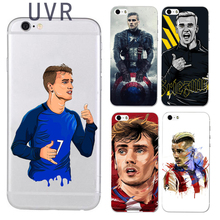 UVR Brand Antoine Griezmann phone case for iphone 5 5s 6 6s 7 7 plus 6plus soft TPU Transparent Football case