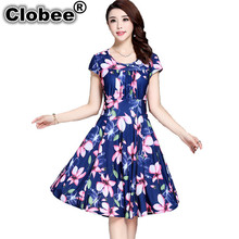 Clobee 2017 Women's Summer Dress Milk Silk Plus size 3XL Knee Length robe A line Loose Floral Printed Dress Women  tunique femme