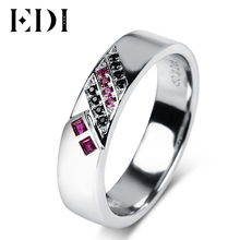 EDI Gemstone Ruby Engagement Couple Wedding Ring Natural Ruby Sapphire 925 Sterling Silver Rings Wedding Bands(China)