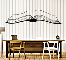 Large Open Book Vinyl Wall Stickers Reading Stories Library Home decor Wall Decal Removable Waterproof Mural Poster SA820(China)