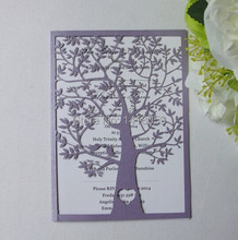 100- Hot Sale  Pearl purple Wedding Party Decoration Paper Craft Laser Cut Love Heart Tree Wedding Invitation Cards/Greet Cards