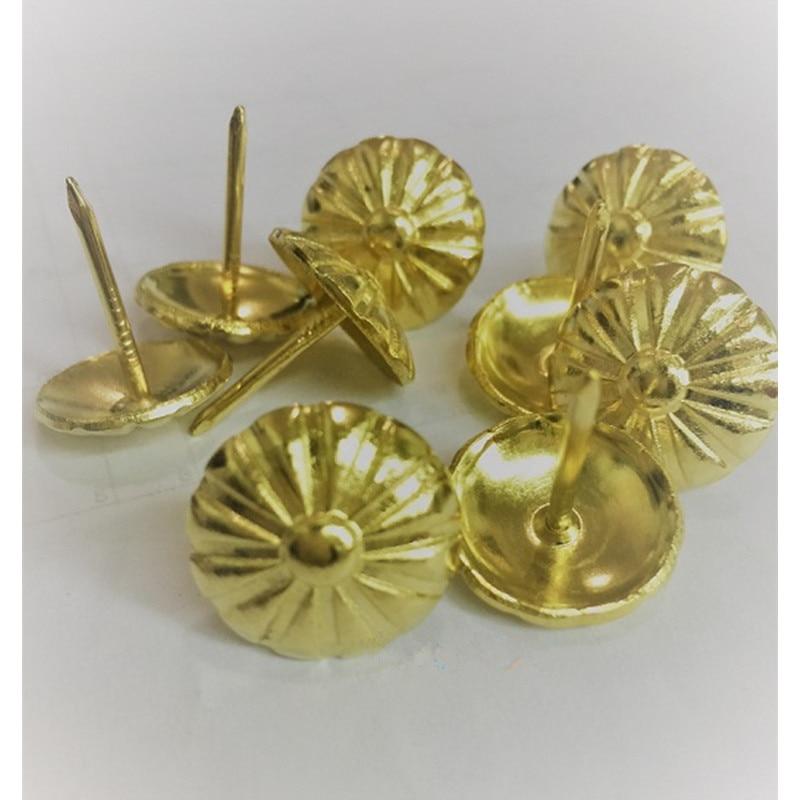 Vintage Flower Nail Decorative Upholstery Tacks Stud Wooden Box Case Furniture Nails Pushpin,Antique Nail Yellow,19*20mm,50Pcs
