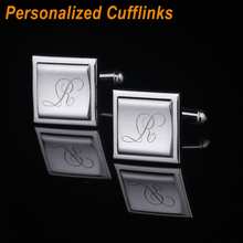 High Quality Men's Jewelry Personalized Square Block Cuff link Engraving Metel Cufflinks For Men's Gift Wedding Favors CL-006(China)
