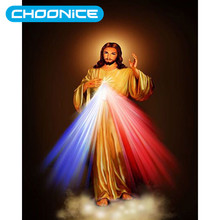 Diamond Painting Jesus Sacred Heart Blue And Red Strong Light DIY 3D Diamond Embroidery Christian Picture Mosaic Drawings(China)