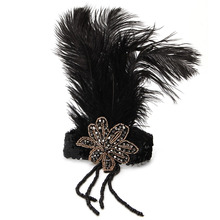 1 PC Indian Sequin Feather Headband Flapper Handmade Headpiece Hair Rope Headdress