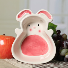 Rabbit Radish Ceramic Bowls Under Glazed Plates Use as Fruit Salad Bowl Nuts Plate for Home Table Decoration(China)