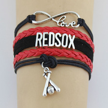 (10 Pieces/Lot) Infinity Love Redsox Bracelets Baseball Charm Handmade Rope Leather Weave Bangle For Women Men Jewelry Custom(China)