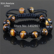 Classic Shamballa Bracelet Men Women Jewelry 2017 Black Onyx /Red Onyx/Tiger Eye/ Turqoise Natural Stone Bead Macrame Bracelet