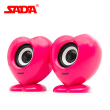 SADA V-188 Colorful Heart Design Surround Stereo Bass Subwoofer Computer USB Speaker PC Smart Phone Speakers for Notebook Laptop