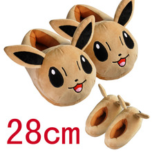 2016 Funny Adult Slippers Women and Men Pokemon Slippers Plush Non-slip Cotton Fur Slippers Pikachu Fluffy Home Slippers