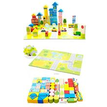 62Pcs/Lot Wooden Building Blocks Bricks Toy Cartoon Images City Traffic Scene Baby Kids Montessori Educational Building Blocks(China)