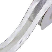(2 meters/lot) 40mm Silver polyester organza ribbons Christmas packaging ribbon high-grade quality squares ribbons