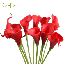 Zonaflor 30PCS Decorative Flowers Calla Lily 2017 PU Real Touch Artificial Flower Home Decoration Table Flowers Wedding Bouquet