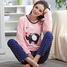 Women Elephant Printing Pajama Sets 100% Cotton Sleepwear pijamas muje homewear M L XL XXL home suit Plus Size  A90r07