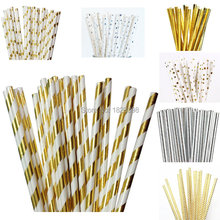 25pcs/lot Foil Gold /Silver Design Paper Straws Drinking Straws for birthday wedding decorative party event supplies(China)