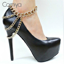 Comiya Brand Summer Style Three Layers Chain Anklets Zinc Alloy Simple Designed Ankle Bracelet Foot Jewelry Anklet 1 Pcs