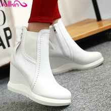 VALLKIN 2016 Sweet Bow Tie Autumn Women Shoes White Ladies Wedges High Heel Ankle Boots Women Platform Fashion Boots Size 34-42