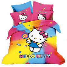 3/4ps Cartoon Home textiles Hello kitty cartoon pattern Bedding Sets Polyester full size Quilt Duvet Cover Pillow .Free shipping