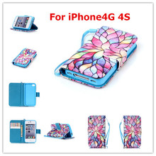 Leather PU Filp Phone cases For iPhone4G 4S Case Stand Holder Cover Cases With Card Slot For iPhone4G 4S(China)