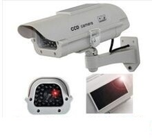 Solar Powered CCTV Security Fake Dummy Camera Cam With Flash Lights+Human Sensor